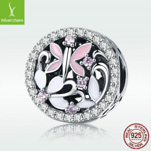 New-Summer-Dragonfly-925-Sterling-Silver-Charm-Pink-CZ-Bead-For-Fashion-Bracelet