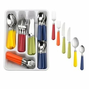 New multi color 48 piece flatware set stainless steel with plastic handles ebay - Flatware colored handles ...