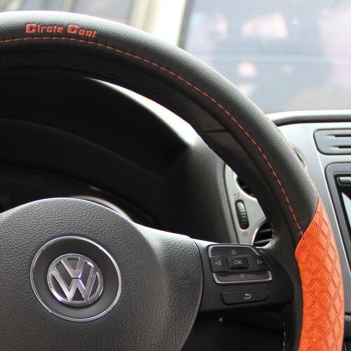 Black & Orange PVC Leather Steering Wheel Cover Slip-on ...