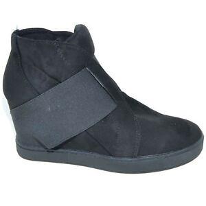 Sneakers alta donna art.3277 nera con strappo fondo antiscivolo made in italy mo