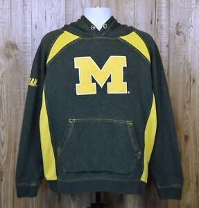 Da-Uomo-Vintage-USA-COLOSSEUM-Athletics-Michigan-Felpa-con-cappuccio-taglia-XL-grigio-giallo-spessa
