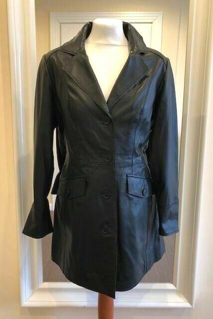 rougeingote en cuir rougeingote Manteau Cuir Manteau Veste en cuir X Noir Taille 23 (46) NEUF