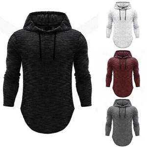 Casual-Basic-Hoodie-Hooded-Muscle-T-shirt-Shirts-Slim-Long-Sleeve-Men-039-s-Fit-Tops