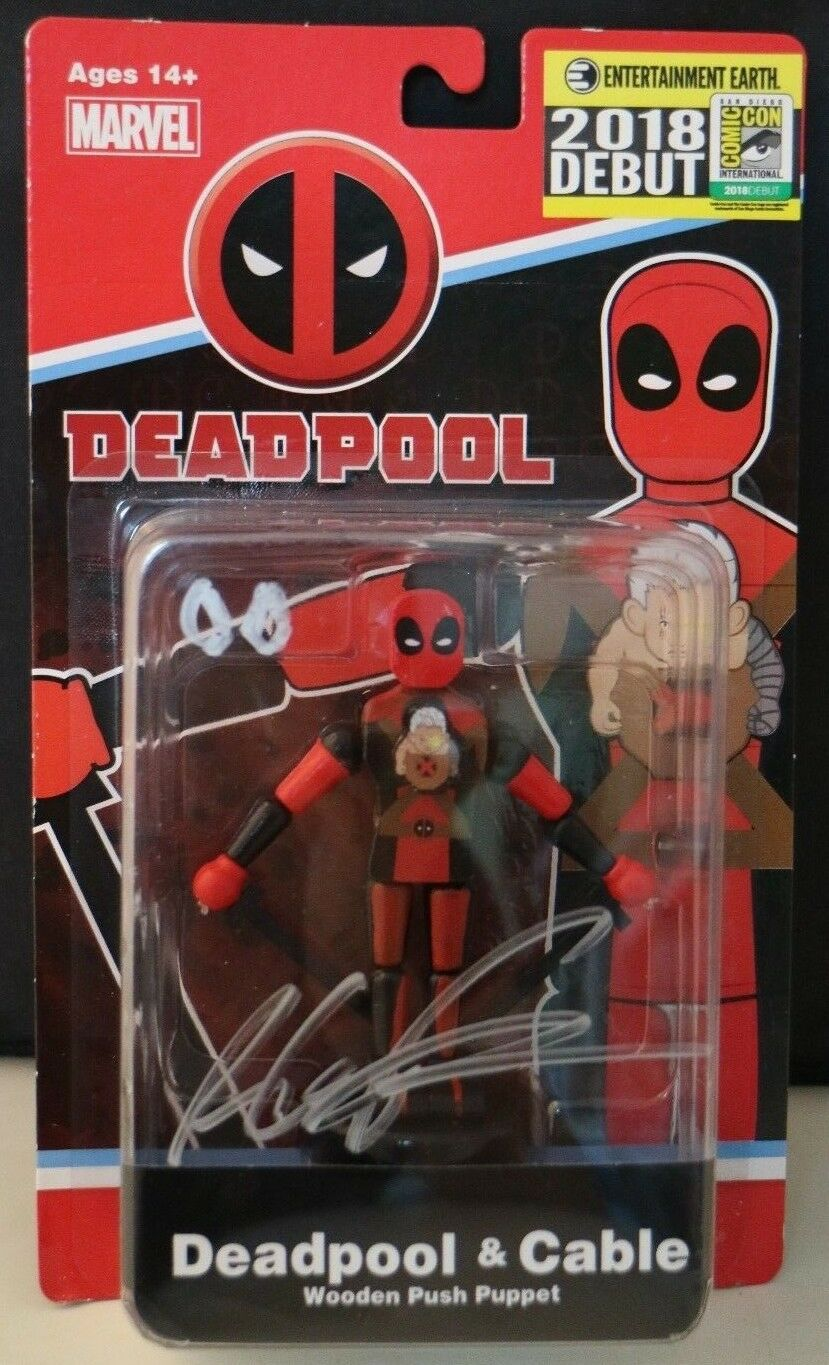 SDCC Comic Con 2018 Deadpool & Cable Wooden Push Puppet Rob Liefeld SIGNED