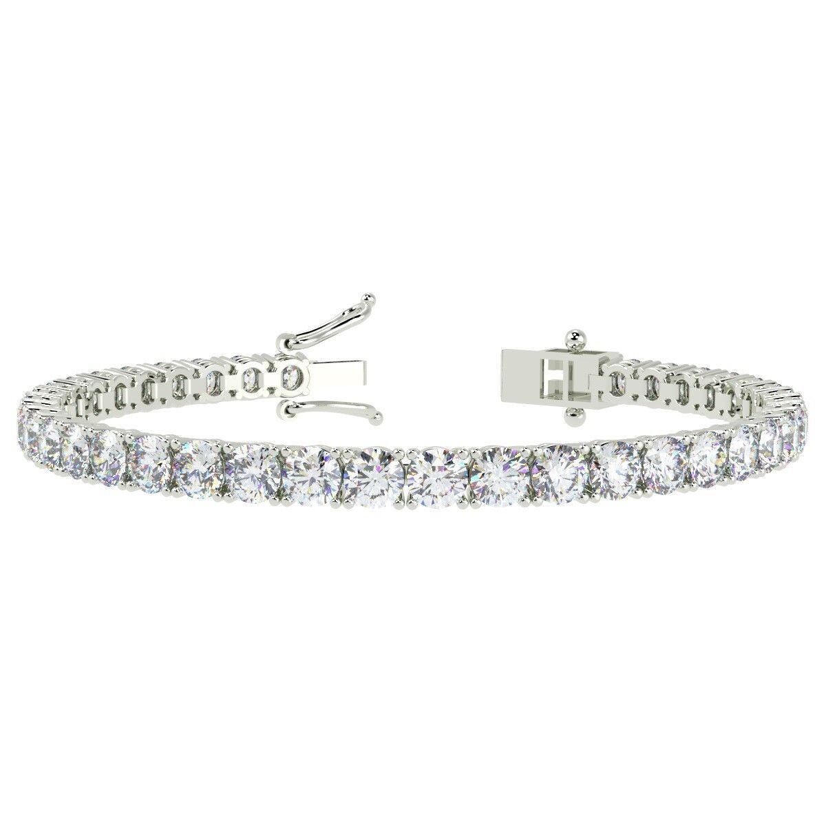 Exceptional Deal .. F VS 10.88 ct Round Diamond Tennis Bracelet, 18k White gold