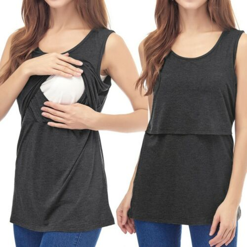 Women/'s Maternity Sleeveless Comfy Nursing Baby Tank Tops Blouse