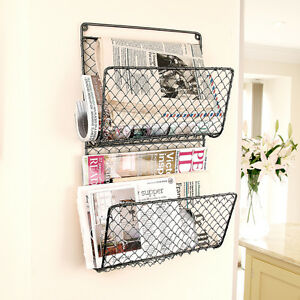 Two Compartment Wall Mounted Magazine Rack Organiser by Dibor
