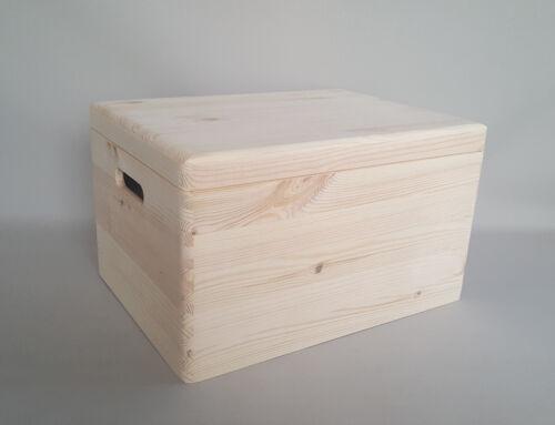 Extra Large Plain boîte en bois Coffre en bois stockage DECOUPIS Craft poignées couvercle x1