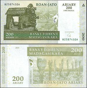Madagaskar 200 Ariary. UNZ 2004 (2007) Banknote Kat# P.87b