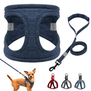 British-Soft-Cotton-Dog-Harness-amp-Lead-Step-In-Reflective-Pet-Vest-Jack-Russell