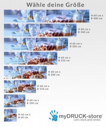 Aufkleber Küchenrückwand Weihnachten Glas Sekt Küche Folie Spritzschutz 22A139