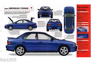 100% De Qualité 1996/1997/1998 Subaru Impreza Turbo Spec Feuille/ Brochure/ Brochure/ Photo