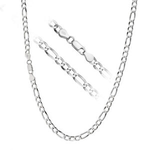 1mm SOLID STERLING SILVER 925 ITALIAN DIAMOND CUT FIGARO LINK CHAIN NECKLACE