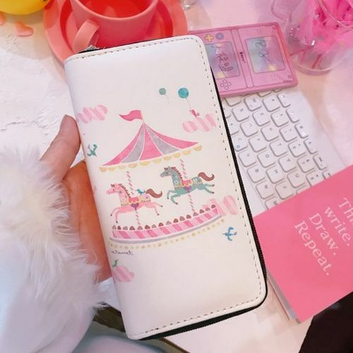 Cute Unicorn Series Wallets Women Long Purse Cartoon Pink Clutch Horse