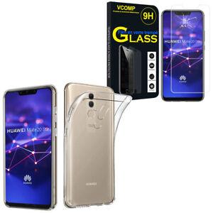 Etui-Coque-Silicone-Gel-UltraSlim-Huawei-Mate-20-Lite-6-3-034-Film-Verre-Trempe