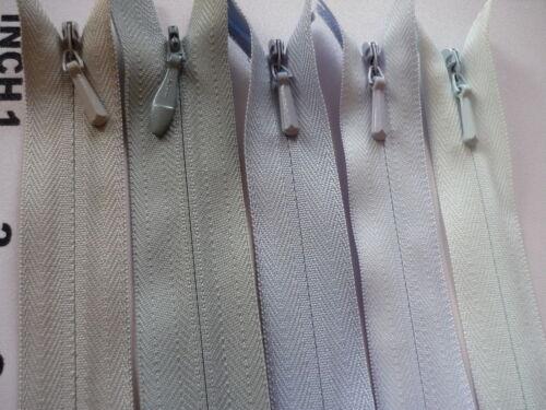 "Paquete De 5 cremallera YKK 8/"" Cremallera Invisible 20cm Calidad De Diseñador Azul Gris Falda Pantalón"