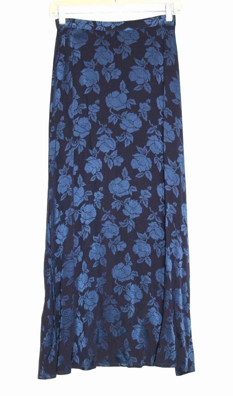 Vintage Laura Ashley - 6 (S) - NWOT - Tonal Navy bluee Floral - Long Full Skirt