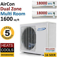 36000 Btu Dual Zone Ductless Air Conditioner Mini Split Ac Multi Heat Pump