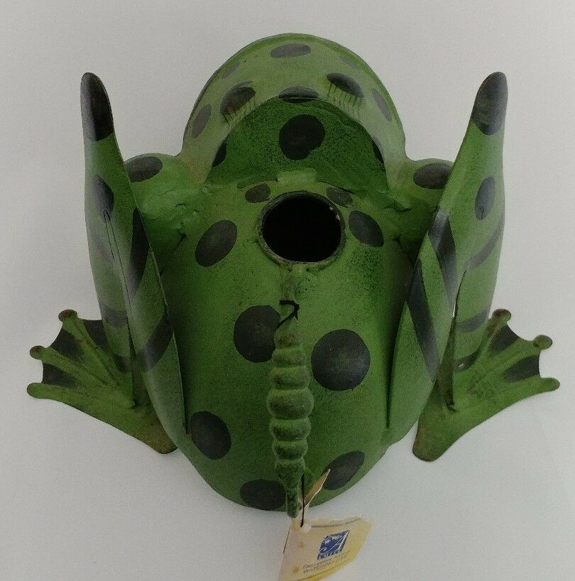 Metal Frog Watering Can Green Hand Made Painted Shabby Chic Yard Art