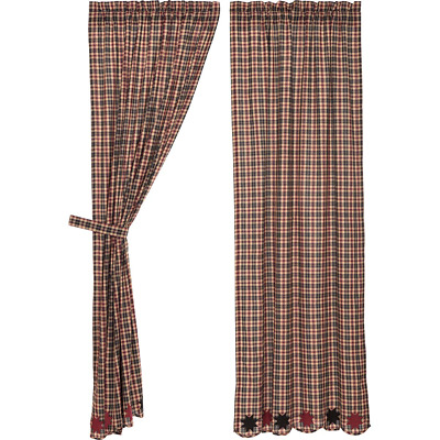 """CARSON STAR SCALLOPED 36/"""" TIER SET COUNTRY PRIMITIVE Black and Burgundy Plaid**"""