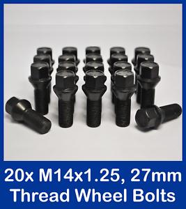 M14 X 1.25 hexagonal de 17mm hilo de 27mm Asiento Cónico Aleación Tornillos Rueda X 20