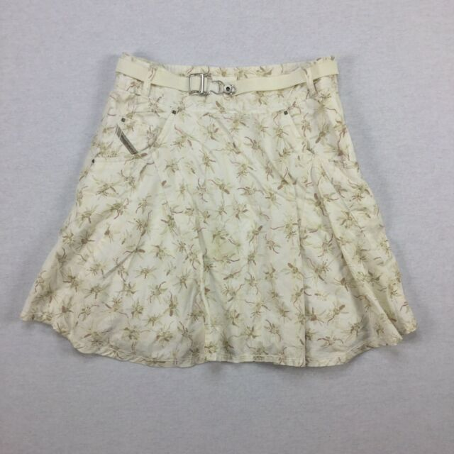 Diesel Womens Size 25 Belted Floral Lined A Line Skirt Above Knee W/ Pockets. QT