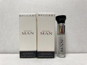Lot-of-2pcs-Bvlgari-Man-0-34-oz-10ml-Eau-de-Toilette-Spray-Mini-for-Men