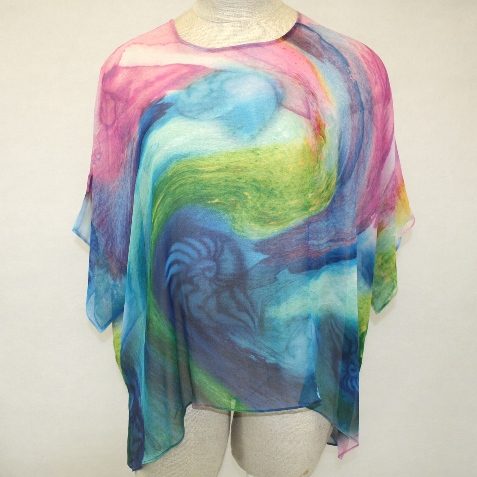 NEW NWT Cocoon House Odyssey Art Sheer 100% Silk Pointed Blouse Top Large   XL
