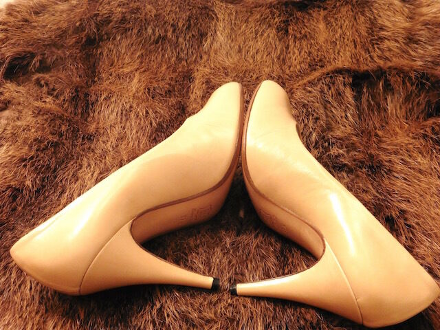 GREAT SHOE HEEL SILVY ALL LEATHER BROWN BEIGE BEIGE BEIGE VINTAGE 80 NEW T.38.5 c4e3b1