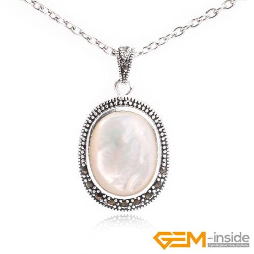 Oval Gemstone Beads Tibetan Silver marcassite Bijoux Charm Pendentif 20x36mm