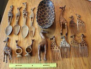 Handmade-African-Wooden-Art-Lot-of-Giraffe-Vintage-Spoon-Comb-Figures-Salad-bowl