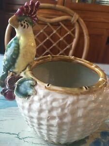 Great-Vintage-Parrot-Bird-Flower-Pot-Planter-Kitsch-Old-Florida-1930s-McCoy