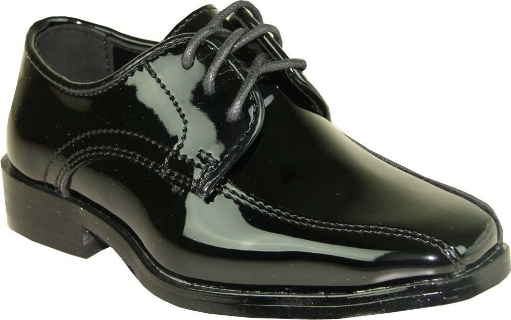 VANGELO/TUX-5 Wrinkle Free Mens Dress Shoes Bicycle Toe Black Patent Size 9.5M