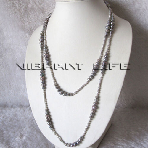 """50/"""" 3-8mm Gray Graduated Freshwater Pearl Strand Necklace Fashion Jewelry"""