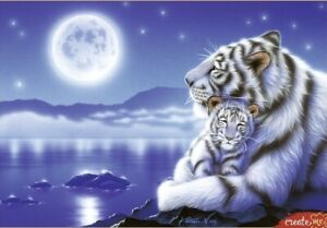 "Puzzles 1500 pieces 58*85cm ""Tigers and the Moon"" Red Cat МГ1500-8465"
