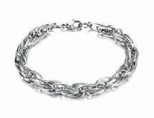 """9"""" Mens Womens Stainless Steel Silver Ring Twisted Link Chain Bracelet #B263"""