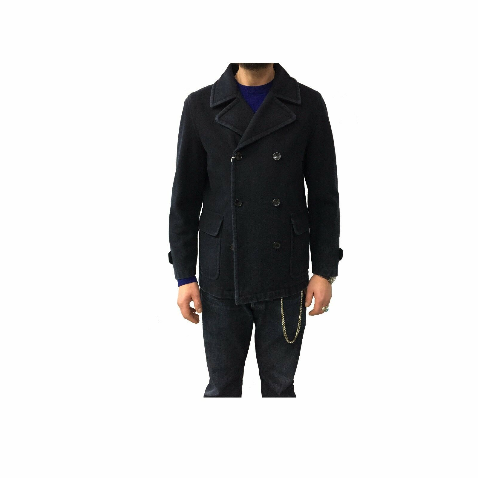 Fly3 Mens Coat Double-Breasted Wash Aged Made in