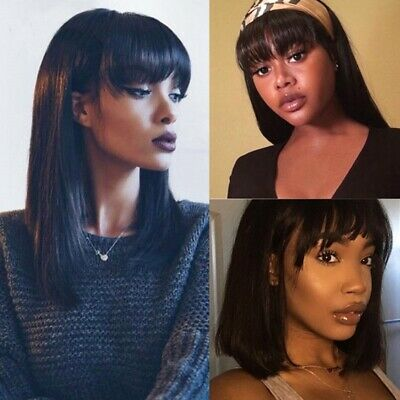 Admirable 100 Real Remy Brazilian Human Hair Wig With Flat Bangs Fringe Natural Hairstyles Runnerswayorg