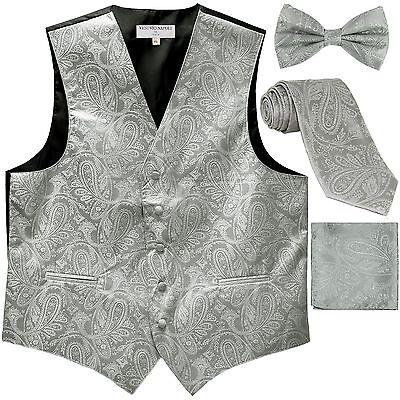 New Men's Paisley Tuxedo Vest Waistcoat & necktie & Bow tie & Hankie Silver prom