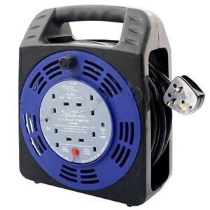 4-WAY-25M-CABLE-EXTENSION-REEL-LEAD-MAINS-SOCKET-HEAVY-DUTY-10-AMP-ELECTRICAL