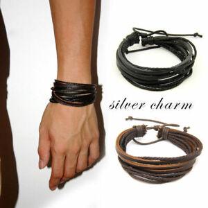Hombres-Vintage-mujer-cuero-multicapa-ajustable-pulsera-brazalete