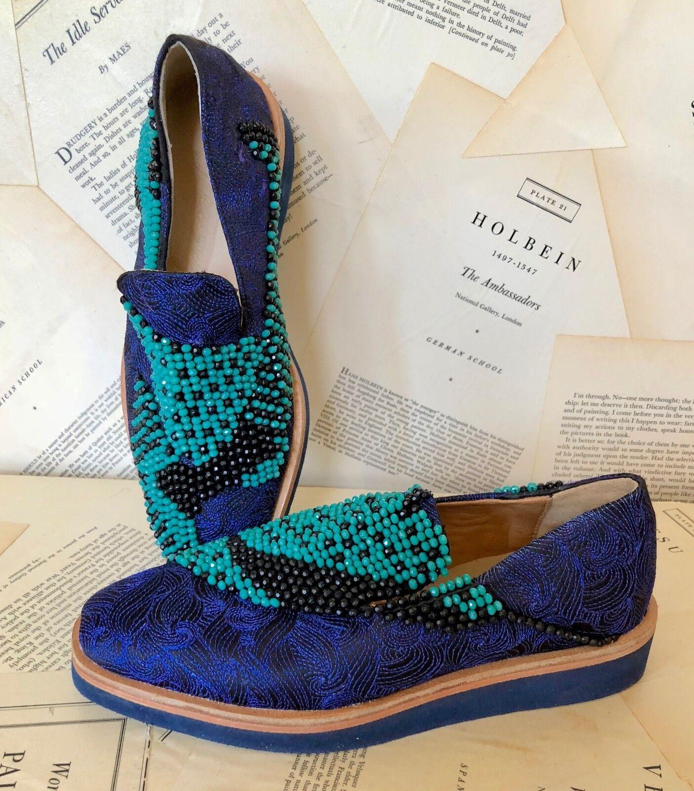 ordina ora i prezzi più bassi NEW Free People blu Jacquard Jacquard Jacquard Turquoise nero Beaded Slip On scarpe Loafers 37 7  il più economico