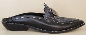 Donald-J-Pliner-Wms-Iguana-Lizard-Print-Black-amp-Blue-Leather-Mules-Shoes-Sz-7-M