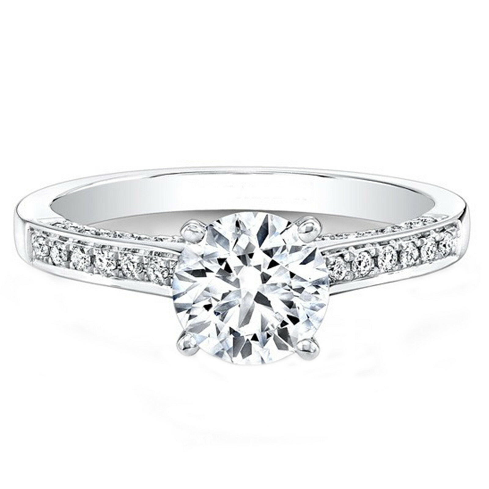0.64 Ct Round Cut Real Diamond Engagement 14K Solid White gold Ring Size 5 6.5 7
