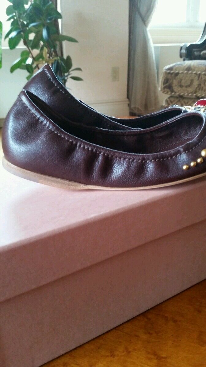 MIU MIU LEATHER BALLET FLATS WITH WITH WITH STUDS SZ 35 NIB 9ba6fb