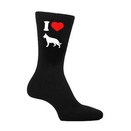 I love coeur Berger Allemand Alsacien Chien Chiens chaussettes noires uk 5-12