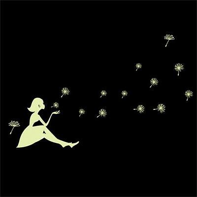 Girl Wall Sticker Home Decor Light Green Glow In The Dark Decal Baby Kid Room