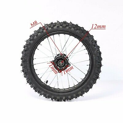 "Black 15mm axle 60//100-14/"" Inch Front Wheel Rim Knobby Tyre PIT PRO Dirt Bike"