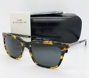 New-Coach-sunglasses-HC8236-538887-56mm-Tortoise-Silver-Grey-Chain-Cat-eye-8236