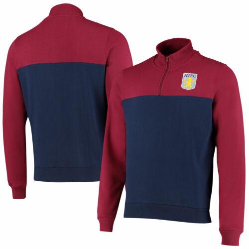 Aston Villa Official Mens Cut /& Sew 1//4 Zip Track Top Navy
